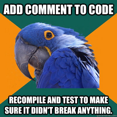 Add comment to code Recompile and test to make sure it didn't break anything. - Add comment to code Recompile and test to make sure it didn't break anything.  Paranoid Parrot