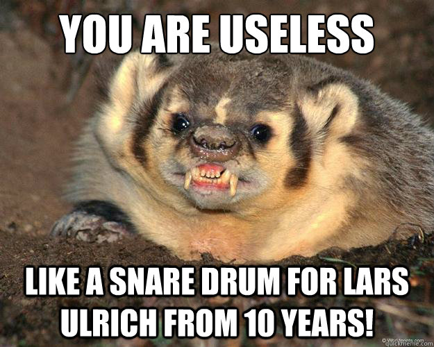 you are useless like a snare drum for lars ulrich from 10 years   livid wisconsin badger
