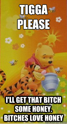 tigga please i'll get that bitch some honey. bitches love honey  Pooh Bear
