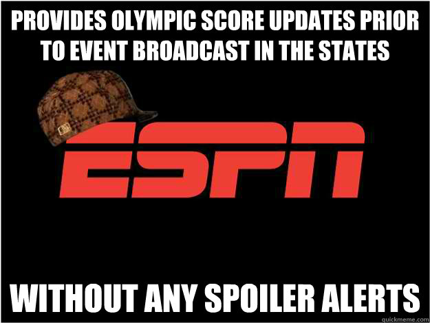 Provides olympic score updates prior to event broadcast in the states without any spoiler alerts - Provides olympic score updates prior to event broadcast in the states without any spoiler alerts  Misc