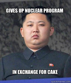 in exchange for cake Gives up nuclear program