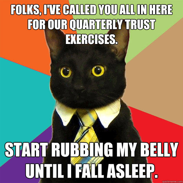 Folks, I've called you all in here for our quarterly trust exercises. Start rubbing my belly until I fall asleep. - Folks, I've called you all in here for our quarterly trust exercises. Start rubbing my belly until I fall asleep.  Business Cat