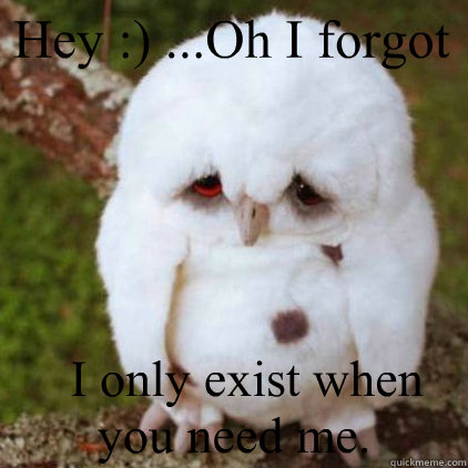 Hey :) ...Oh I forgot   I only exist when you need me.