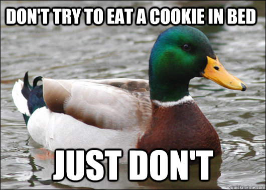 Don't try to eat a cookie in bed just don't  - Don't try to eat a cookie in bed just don't   Actual Advice Mallard