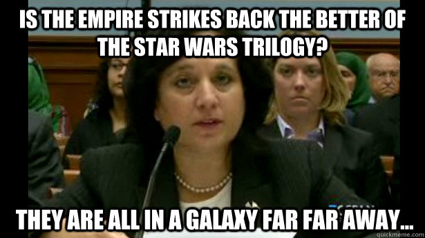 Is The Empire Strikes Back the better of the Star Wars Trilogy?  They are all in a galaxy far far away...