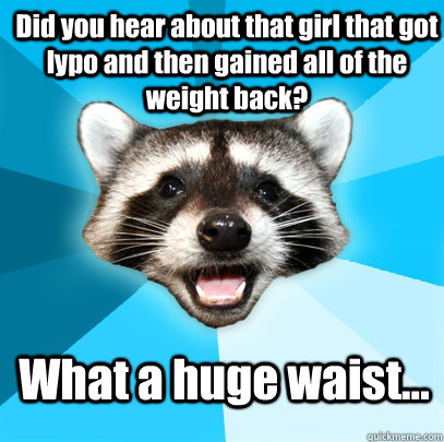 Did you hear about that girl that got lypo and then gained all of the weight back? What a huge waist... - Did you hear about that girl that got lypo and then gained all of the weight back? What a huge waist...  Lame Pun Coon