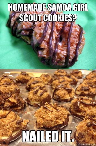 Homemade samoa girl scout cookies? Nailed it  - Pinterest