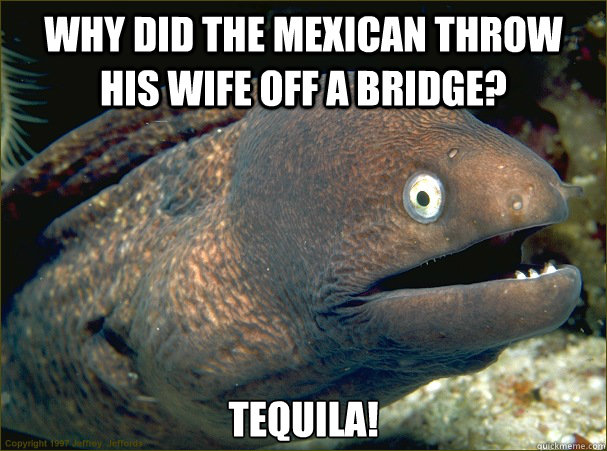 Why did the Mexican throw his wife off a bridge? TEQUILA! - Why did the Mexican throw his wife off a bridge? TEQUILA!  Misc