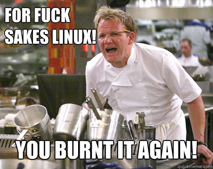 For fuck  sakes Linux! you burnt it again!  Ramsay Gordon Yelling