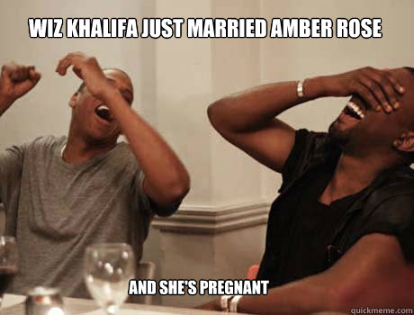 wiz khalifa just married amber rose and she's pregnant