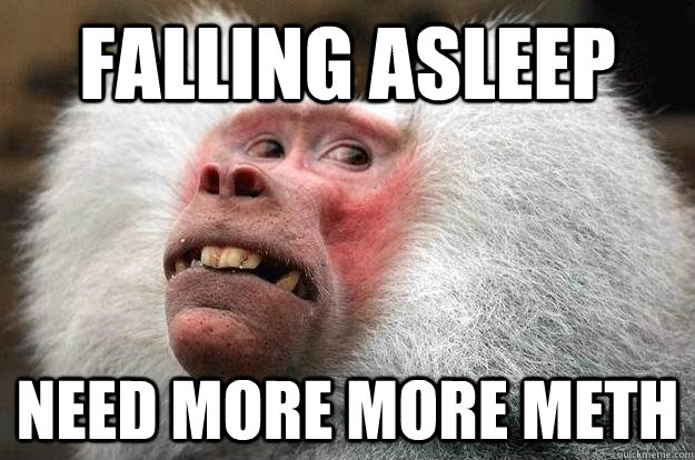 falling asleep need more more meth - falling asleep need more more meth  Meth Monkey