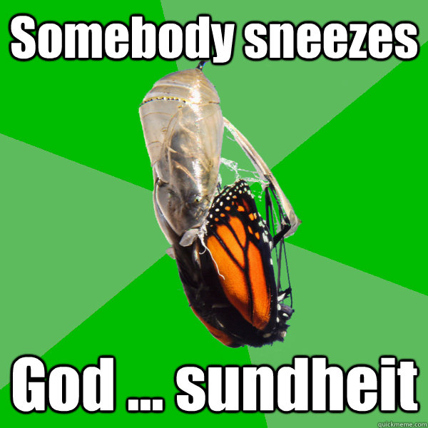 Somebody sneezes God ... sundheit