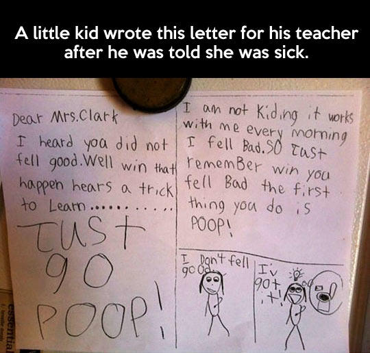 Little Kid Finds Out His Teacher Is Sick, Comes up with The Best Idea Ever... -   Misc