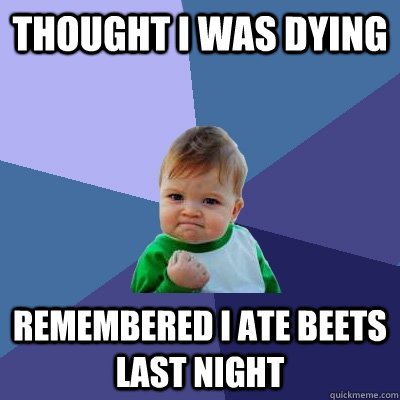 thought i was dying remembered i ate beets last night - thought i was dying remembered i ate beets last night  Success Kid