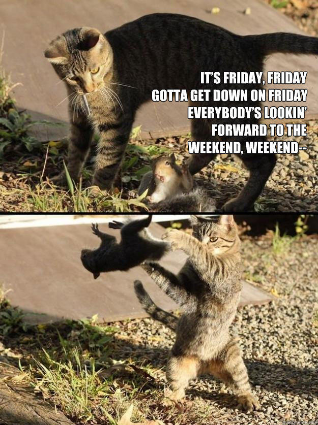 It's Friday, Friday Gotta get down on Friday Everybody's lookin' forward to the weekend, weekend--  Annoying Squirrel