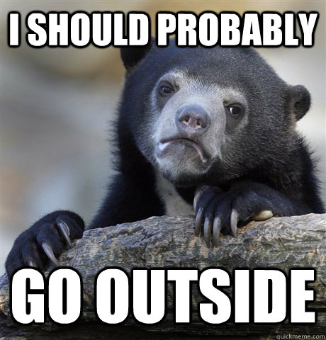 I should probably go outside - I should probably go outside  Confession Bear