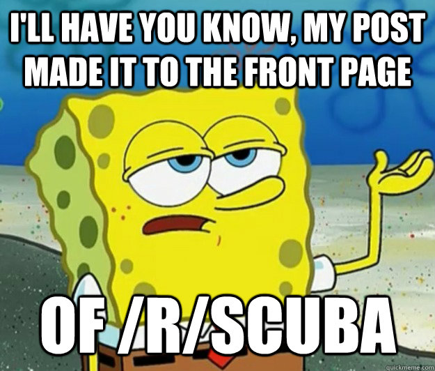 I'll have you know, my post made it to the front page of /r/scuba - I'll have you know, my post made it to the front page of /r/scuba  Tough Spongebob