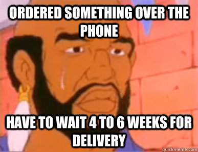ordered something over the phone have to wait 4 to 6 weeks for delivery