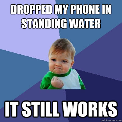 dropped my phone in standing water it still works - dropped my phone in standing water it still works  Success Kid