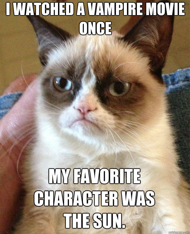 I watched a vampire movie once  My favorite character was the sun.   Grumpy Cat