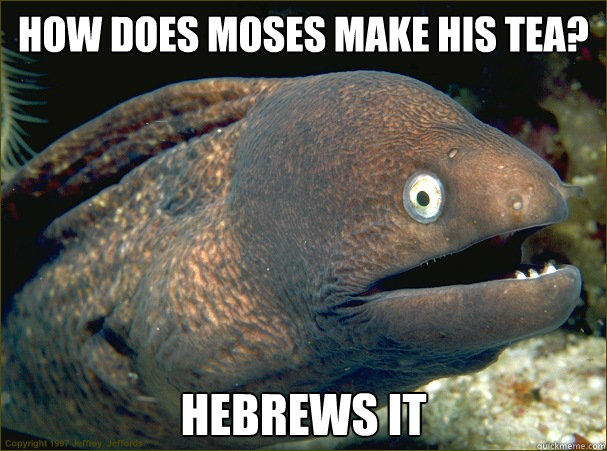 How does Moses make his tea? hebrews it - How does Moses make his tea? hebrews it  Bad Joke Eel