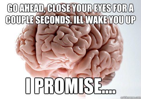 go ahead, close your eyes for a couple seconds. ill wake you up I promise.... - go ahead, close your eyes for a couple seconds. ill wake you up I promise....  Scumbag Brain