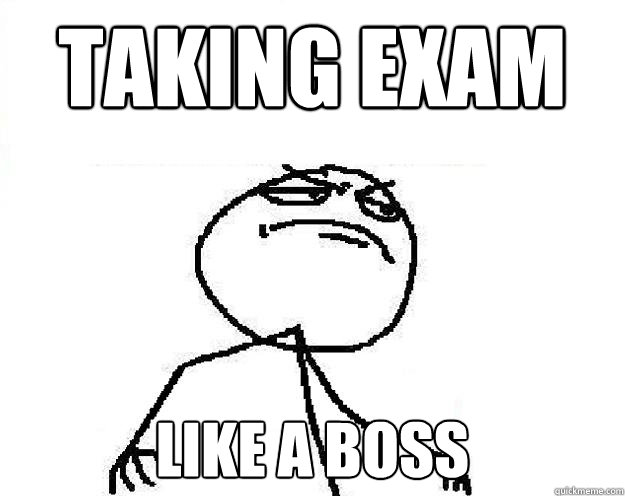 taking exam like a boss