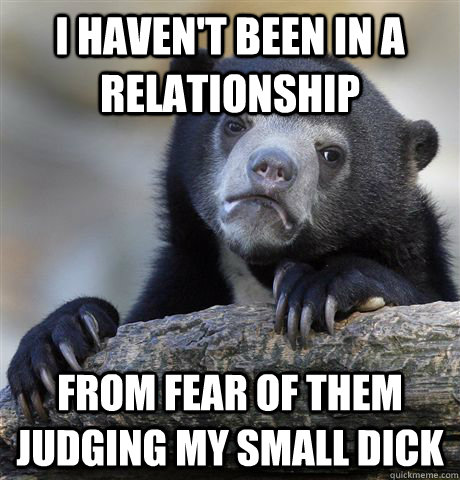 I haven't been in a relationship from fear of them judging my small dick - I haven't been in a relationship from fear of them judging my small dick  Confession Bear