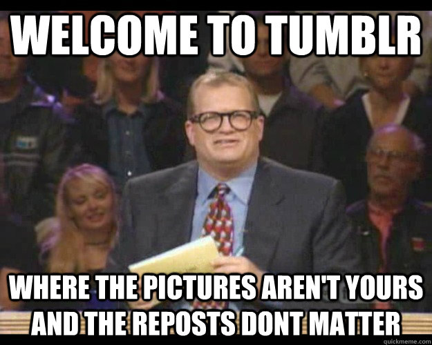 welcome to tumblr where the pictures aren't yours and the reposts dont matter