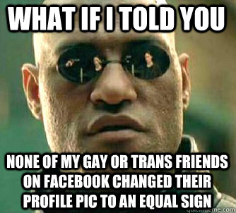 what if i told you None of my gay or trans friends on Facebook changed their profile pic to an equal sign - what if i told you None of my gay or trans friends on Facebook changed their profile pic to an equal sign  Matrix Morpheus