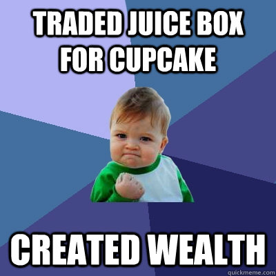 traded juice box for cupcake created wealth  Success Kid