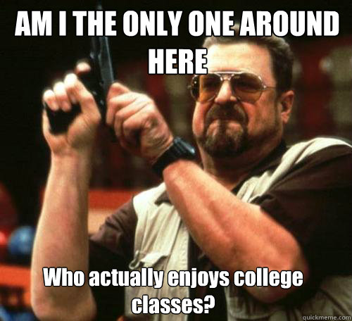 AM I THE ONLY ONE AROUND HERE Who actually enjoys college classes? - AM I THE ONLY ONE AROUND HERE Who actually enjoys college classes?  Misc