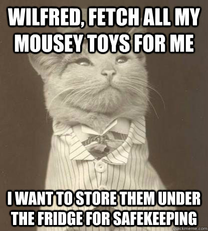 Wilfred, fetch all my mousey toys for me I want to store them under the fridge for safekeeping - Wilfred, fetch all my mousey toys for me I want to store them under the fridge for safekeeping  Aristocat