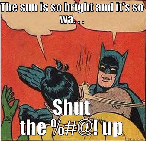 THE SUN IS SO BRIGHT AND IT'S SO WA. . . SHUT THE %#@! UP Batman Slapping Robin