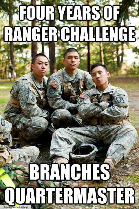 four years of ranger challenge branches quartermaster  Hooah ROTC Cadet