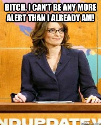 Bitch, I can't be any more alert than I already am!   Tina Fey