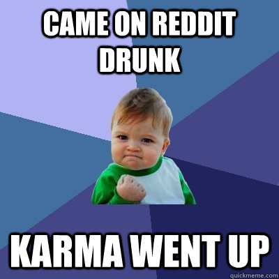 came on reddit drunk karma went up - came on reddit drunk karma went up  Success Kid
