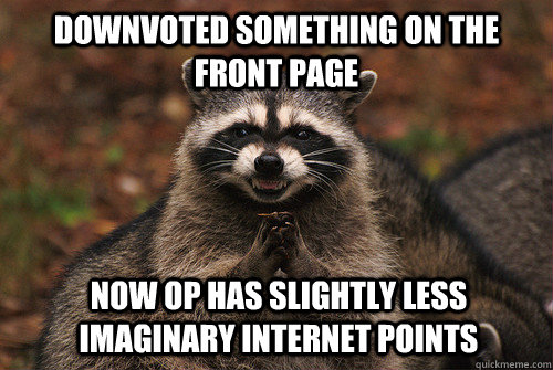 Downvoted something on the front page now op has slightly less imaginary internet points - Downvoted something on the front page now op has slightly less imaginary internet points  Insidious Racoon 2