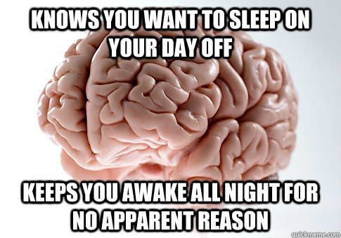 Knows you want to sleep on your day off keeps you awake all night for no apparent reason - Knows you want to sleep on your day off keeps you awake all night for no apparent reason  Scumbag Brain