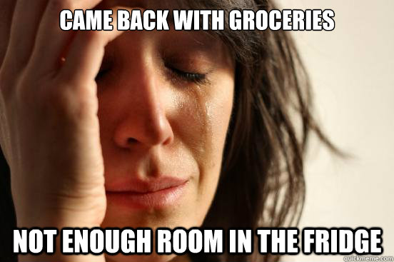came back with groceries not enough room in the fridge - came back with groceries not enough room in the fridge  First World Problems