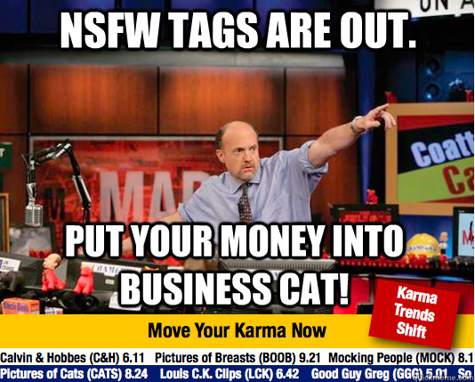 NSFW tags are out. Put your money into business cat! - NSFW tags are out. Put your money into business cat!  Mad Karma with Jim Cramer