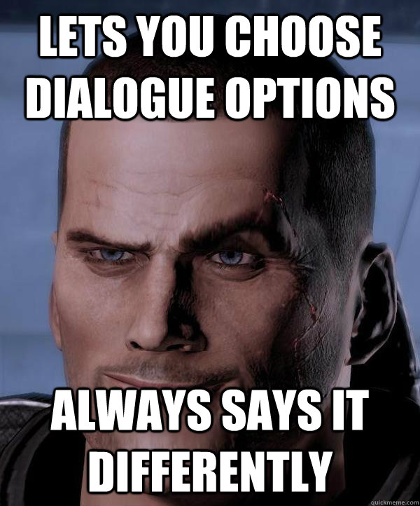 Lets you choose dialogue options  always says it differently
