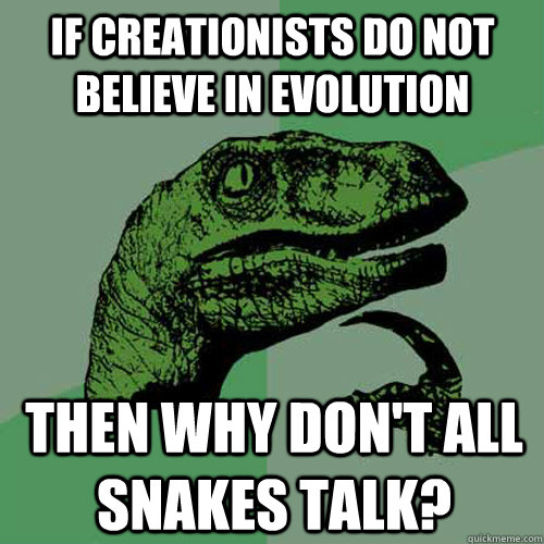 if creationists do not believe in evolution then why don't all snakes talk? - if creationists do not believe in evolution then why don't all snakes talk?  Philosoraptor