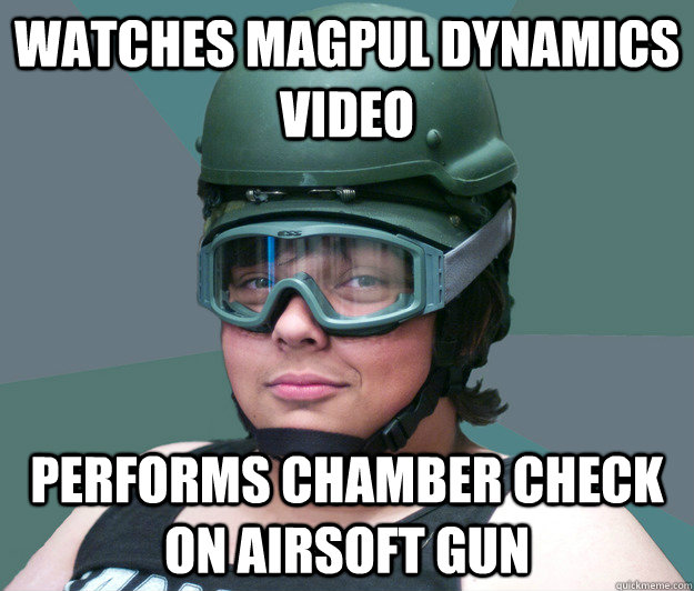 watches magpul dynamics video PERFORMS CHAMBER CHECK ON AIRSOFT GUN - watches magpul dynamics video PERFORMS CHAMBER CHECK ON AIRSOFT GUN  battle scarred airsofter