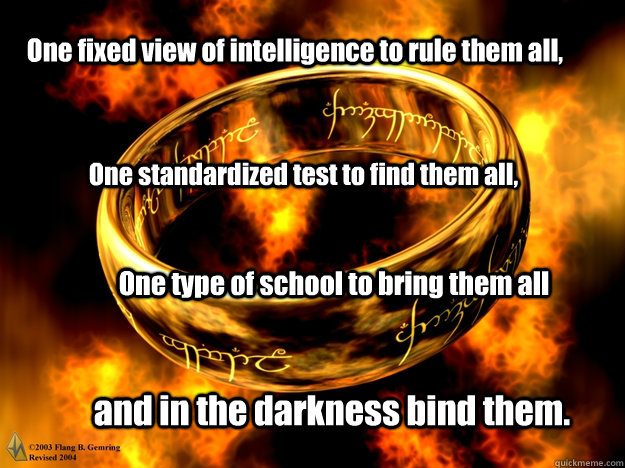 One fixed view of intelligence to rule them all, One standardized test to find them all, One type of school to bring them all and in the darkness bind them.