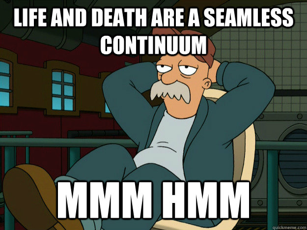 Life and death are a seamless continuum Mmm Hmm