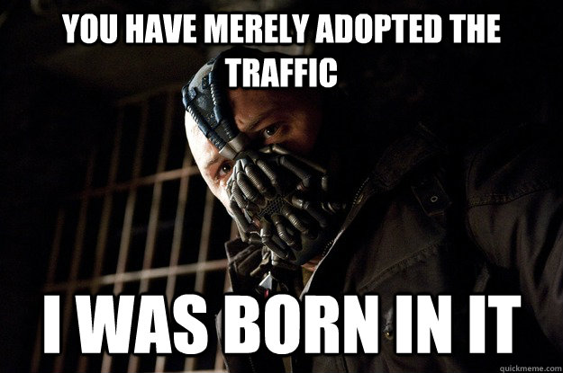 you have merely adopted the traffic I was born in it - you have merely adopted the traffic I was born in it  Angry Bane