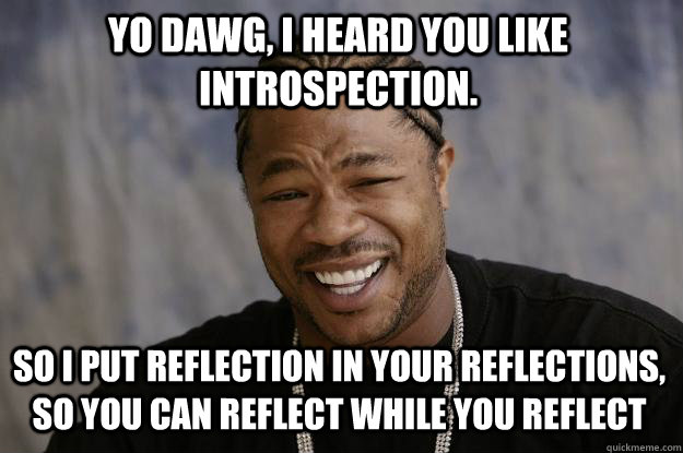 Yo dawg, I heard you like introspection. So I put reflection in your reflections, so you can reflect while you reflect  Xzibit meme