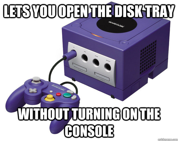 Lets you open the disk tray Without turning on the console - Lets you open the disk tray Without turning on the console  Misc