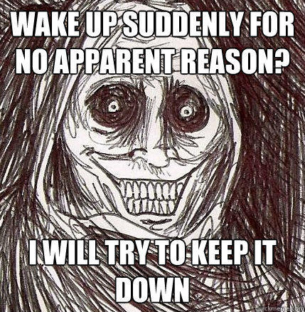 wake up suddenly for no apparent reason? i will try to keep it down - wake up suddenly for no apparent reason? i will try to keep it down  Horrifying Houseguest
